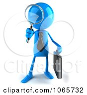 Clipart 3d Blue Bob Businessman Searching 1 Royalty Free CGI Illustration by Julos