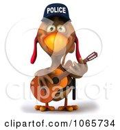 Clipart 3d Police Chicken Guitarist 1 Royalty Free CGI Illustration