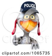 Clipart 3d White Police Chicken With A Sign 1 Royalty Free CGI Illustration