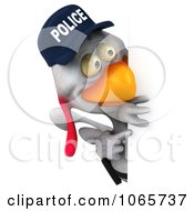 Clipart 3d White Police Chicken With A Sign 2 Royalty Free CGI Illustration