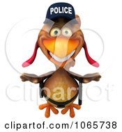 Clipart 3d Police Chicken Flying 1 Royalty Free CGI Illustration