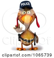 Clipart 3d Police Chicken Facing Front Royalty Free CGI Illustration