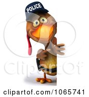 Clipart 3d Police Chicken Facing With A Sign 1 Royalty Free CGI Illustration