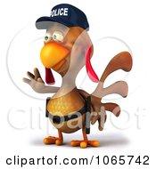 Clipart 3d Police Chicken Facing Left Royalty Free CGI Illustration