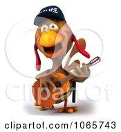 Clipart 3d Police Chicken Guitarist 2 Royalty Free CGI Illustration