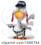 Clipart 3d White Police Chicken Pointing Royalty Free CGI Illustration