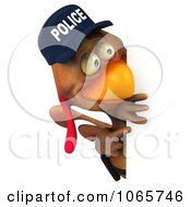 Clipart 3d Police Chicken Facing With A Sign 2 Royalty Free CGI Illustration