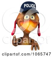 Clipart 3d Thumbs Up Police Chicken Facing With A Sign Royalty Free CGI Illustration