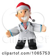Clipart 3d Christmas Toon Guy Doctor Welcoming Royalty Free CGI Illustration