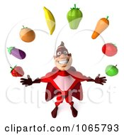 Clipart 3d Red Super Hero Juggling Produce 3 Royalty Free CGI Illustration