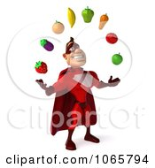 Clipart 3d Red Super Hero Juggling Produce 2 Royalty Free CGI Illustration