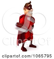 Clipart 3d Red Super Hero Holding Steak 1 Royalty Free CGI Illustration