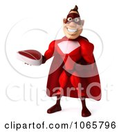 Clipart 3d Red Super Hero Holding Steak 3 Royalty Free CGI Illustration