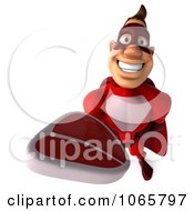 Clipart 3d Red Super Hero Holding Steak 2 Royalty Free CGI Illustration