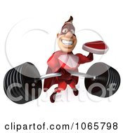 Clipart 3d Red Super Hero Holding Steak And A Barbell Royalty Free CGI Illustration