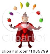 Clipart 3d Red Super Hero Juggling Produce 1 Royalty Free CGI Illustration