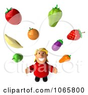 Clipart 3d Happy Fat Casual Woman Juggling Produce Royalty Free CGI Illustration