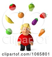 Clipart 3d Sad Fat Casual Woman Juggling Produce Royalty Free CGI Illustration