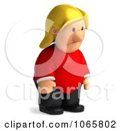 Clipart 3d Fat Casual Woman Pouting Royalty Free CGI Illustration