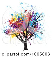 Clipart Tree With Grungy Foliage Royalty Free Vector Illustration