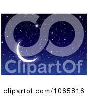 Clipart Crescent Moon And Sparkly Stars Royalty Free Vector Illustration