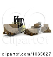 Clipart 3d White Character Forklift Operator Royalty Free CGI Illustration