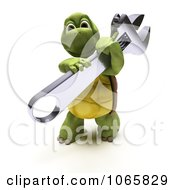 Clipart 3d Tortoise Holding A Spanner Wrench Royalty Free CGI Illustration
