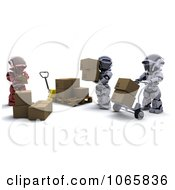 Clipart 3d Warehouse Robot Workers Royalty Free CGI Illustration