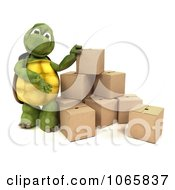 Clipart 3d Tortoise With Shipping Boxes Royalty Free CGI Illustration