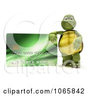 Clipart 3d Tortoise With A Green Credit Card Royalty Free CGI Illustration