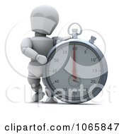 Clipart 3d White Character By A Stopwatch Royalty Free CGI Illustration