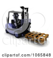 Clipart 3d Robot Moving A Pallet On A Forklift Royalty Free CGI Illustration
