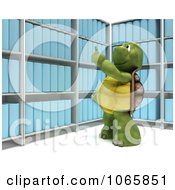 Clipart 3d Tortoise Pointing At Binders Royalty Free CGI Illustration