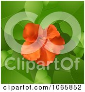Clipart 3d Hibiscus Flower And Leaves Royalty Free Vector Illustration by elaineitalia