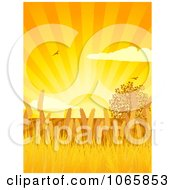 Clipart Wheat Fields Under An Orange Sunset Royalty Free Vector Illustration by elaineitalia