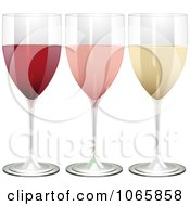 Clipart 3d Glasses Of Red Rose And White Wine Royalty Free Vector Illustration by elaineitalia