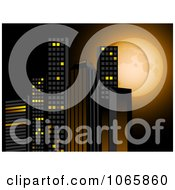 Clipart 3d Skyscrapers Against A Full Moon Royalty Free Vector Illustration