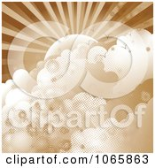 Clipart Sepia Halftone Sun And Clouds Royalty Free Vector Illustration
