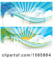 Clipart Palm Tree And Sunshine Website Banners Royalty Free Vector Illustration by MilsiArt