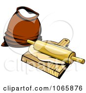 Clipart Flour Dough And A Rolling Pin Royalty Free Vector Illustration