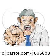 Clipart Mad Boss Pointing Spitting And Yelling Royalty Free Vector Illustration