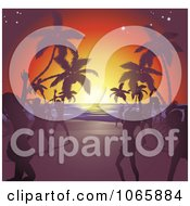 Silhouetted Ladies Dancing On A Tropical Beach