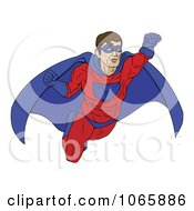 Clipart Masked Super Hero In Flight Royalty Free Vector Illustration by AtStockIllustration