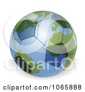 Clipart 3d Soccer Ball Globe Royalty Free Vector Illustration