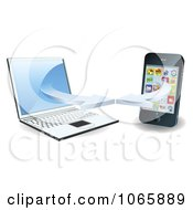 Clipart 3d Laptop And Smart Phone Connecting On A Wifi Network Royalty Free Vector Illustration