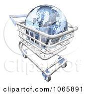 3d Blue Globe In A Shopping Cart