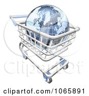 Clipart 3d Blue Globe In A Shopping Cart Royalty Free Vector Illustration