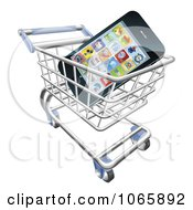 Clipart 3d Cell Phone In A Shopping Cart Royalty Free Vector Illustration