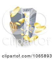 Clipart 3d Gold Ingots Bursting Out Of A Safe Royalty Free Vector Illustration by AtStockIllustration