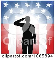 Clipart Silhouetted Soldier Saluting Over American Flag Royalty Free Vector Illustration